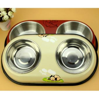 Removable Stainless Duo Bowl Pet Dog Cat Food Bowl Feeding Bowl[Small][Beige]