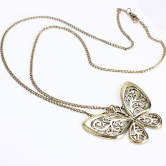 Retro Carved Butterfly Pendant Necklace Girl Alloy Sweater Bronze Chain - picture 2