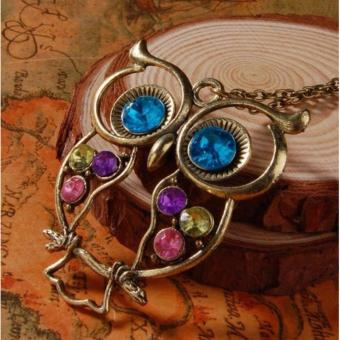 Retro Colorful Rhinestone Owl Pendant and Long Chain Necklace 9g - 2