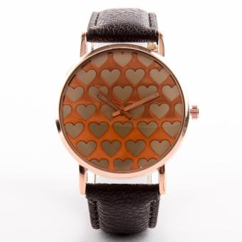 Retro Heart Analog Watch with Synthetic Leather Strap-Brown-Unisex