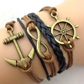 Retro Infinity Anchor Rudder Leather Charm Bracelet Bronze Gift Cute Black Brown Price Philippines