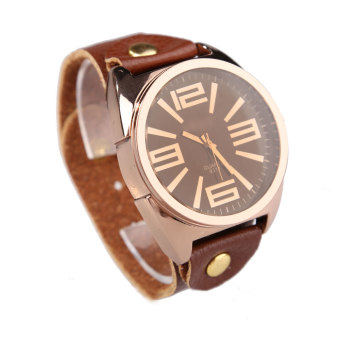 Retro Large Round Dial Faux Leather Wrist Watch - picture 2