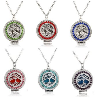 Retro Multicolor Round Box Locket Engrave Tree Necklace Fragrance Essential Oil Aromatherapy Diffuser Pendant Necklace Aromatherapy tree of life Necklace (Color??Pink) - intl