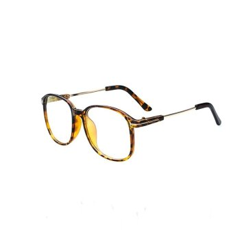 Retro Vintage Huge Big Oversized Square Metal Frame Women MenEyeglasses Glasses Leopard