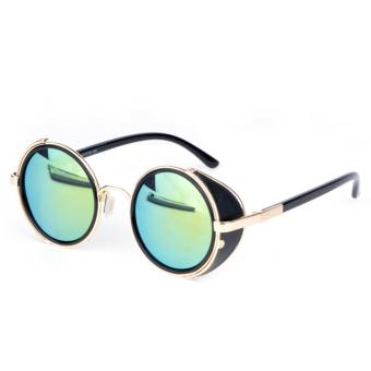 Retro Vintage Style Mirror Lens Round Glasses Cyber Goggles Steampunk Sunglasses Light Blue - intl