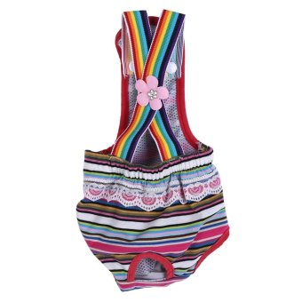 Reusable Washable Female Dog Diaper Menstrual Suspender CottonPants(Stripe Red L) - intl