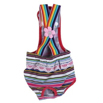 Reusable Washable Female Dog Diaper Menstrual Suspender CottonPants(Stripe Red S) - intl