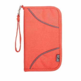 RFID Travel Passport Holder Wallet Casual Zipper Wallets Large Capacity Credit Card Organizer Wallets Cash Tickets Organizer Bag Unisex Travel Wallet Phone Holder Bags Case-Orange - intl
