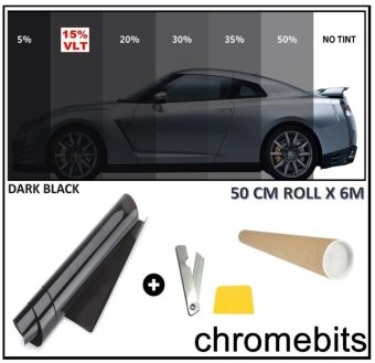 RHS 50cm X 3m Window Tint Film Black Roll VLT 15% For Car Auto House Commercial - intl