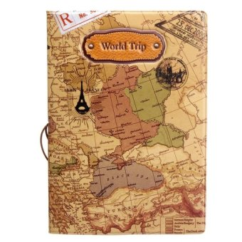RHS Leather World Map Passport Holder Organizer Travel Card CaseDocument Cover(Brown) - intl