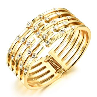 721.55Richapex Elegant 5 Circles Copper 18k Gold Plated Personality Openning Charm Bangle Bracelet - Intl