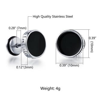 Richapex Mens Stainless Steel Screw Stud Earrings Unisex Womens Ear Plugs Tunnel Jewelry 2 pair sets - 3