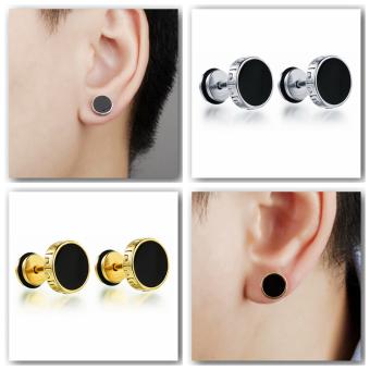 Richapex Mens Stainless Steel Screw Stud Earrings Unisex Womens Ear Plugs Tunnel Jewelry 2 pair sets - 2