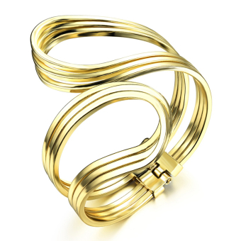 Richapex Wedding Bride Art Curve Copper 18k Gold Plated Personality Openning Charm Bangle Bracelet - Intl