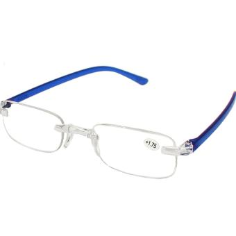 Rimless Frame reading Glass +1..75 with Case - Blue