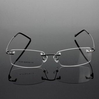 Rimless Glasses Lightest Rx Optical Eyeglasses Memory TitaniumSpectacles Frame Gray - intl -