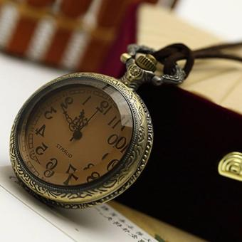 Rising Star Brown Glass Retro Pocket Watch Velvet Rope NecklaceSweater Chain X0363 - 2