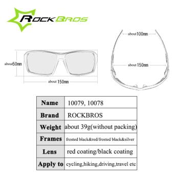 RockBros Cycling Glasses Polarized Sunglasses Outdoor Sport Bicycle Goggles Eye Protector, Black&Dard Red - intl - 4