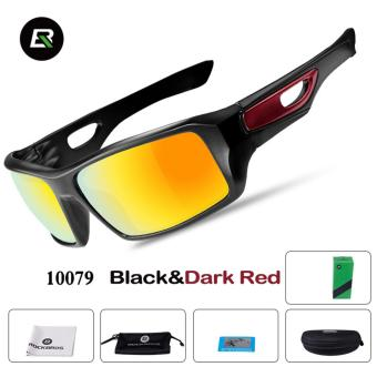 RockBros Cycling Glasses Polarized Sunglasses Outdoor Sport Bicycle Goggles Eye Protector, Black&Dard Red - intl
