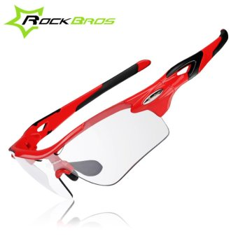 Rockbros Men Women Polarized Photochromic Cycling Glasses 2 Colors Bike Glasses Outdoor Sports Bicycle Sunglasses Goggles Eyewear Myopia Frame, Red - intl