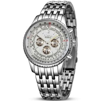 Rosra Men's All The Time In The World White Face and Silver Steel Strap Watch