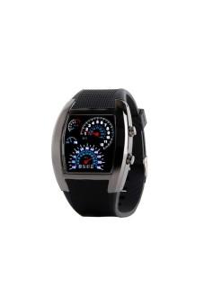 RPM Blue Flash LED Dial Sports Watch Black