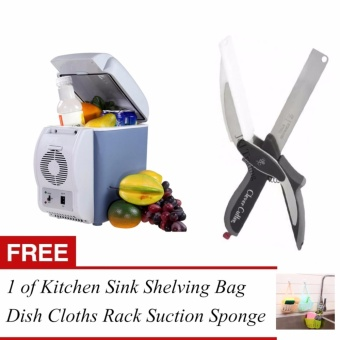 Rukia 7.5L Mini Fridge Cooler & Warmer Auto Car PortableElectronic Refrigerator and Clever Cutter 2 in 1 Kitchen Knife& Cutting Board Scissors Stainless Steel w/ FREE Kitchen SinkShelving Bag Dish Cloths Rack Suction Sponge Hanging Drain Holder