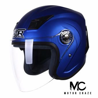 RXR 007 Open Face Motorcycle Helmet (Muted Blue)