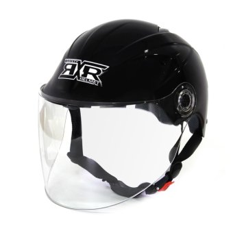 RXR R-066D Open /Half Face- Safety and Protective Head GearMotorcycle Helmet (Black)