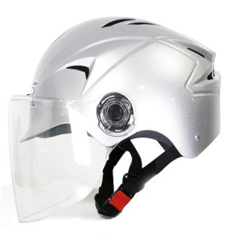 RXR R-066D Open /Half Face- Safety and Protective Head GearMotorcycle Helmet (Silver) - 2