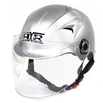 RXR R-066D Open /Half Face- Safety and Protective Head GearMotorcycle Helmet (Silver)