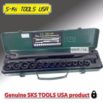 "S-Ks Tools USA B-17 1/2"" Drive 12 Points Socket Wrench Set with Metal Carry Case"