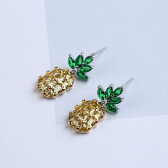 S925 European and American style fruit pineapple stud silver needle earrings