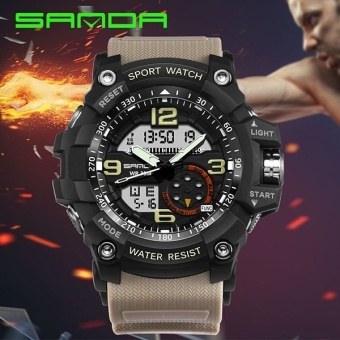 SANDA Brand Watch 759 Automatic waterproof wristwatch Men Fashion dual display army military Watch top quality mens famous datajust clock - intl - 3