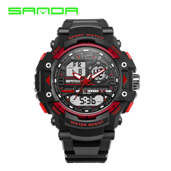 SANDA Stylish men's dual display waterproof electronic watch military form