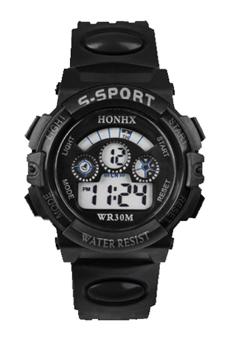 Sanwood Men's Date Alarm Stopwatch LED Digital Rubber Watch Black