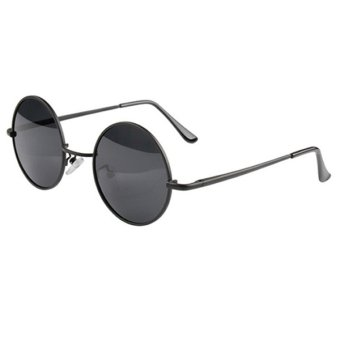 Sanwood Round Metal Frame Sunglasses Eyewear Black Lens