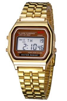 Sanwood® Unisex Stainless Steel LCD Digital Sports Watch Golden
