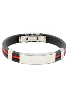 Sanwood Unisex Stainless Steel Rubber Wristband Clasp Red