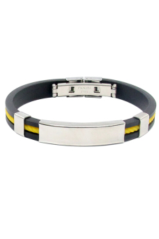 Sanwood Unisex Stainless Steel Rubber Wristband Yellow