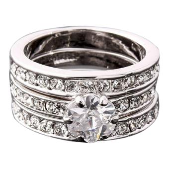 Sanwood Women's 9K Gold Plated Zircon Engagement Wedding Rings Silver