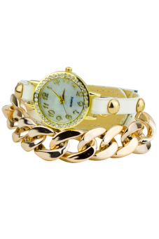 Sanwood Women's Gold Plated Chain leather Bracelet Watch White