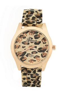 Sanwood Womens Leopard Jelly Silicone Wrist Watch
