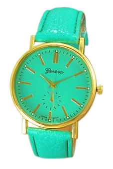 Sanwood Women's Roman Numeral Faux Leather Band Watch Mint Green