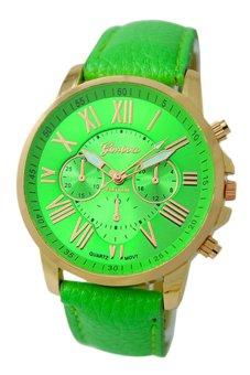 Sanwood Women's Roman Numerals Faux Leather Wrist Watch Light Green