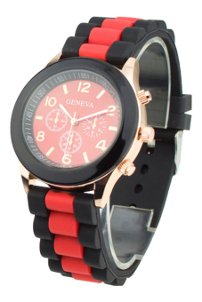Sanwood Women's Silicone Strap Quartz Sports Wrist Watch Red