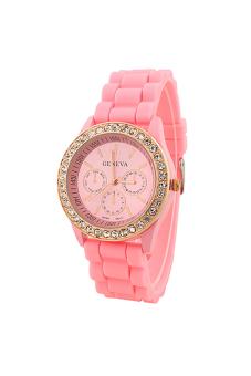Sanwood Women's Silicone Strap Wrist Watch Light Pink