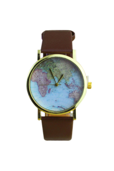 Sanwood World Map Women's Faux Leather Strap Watch Brown