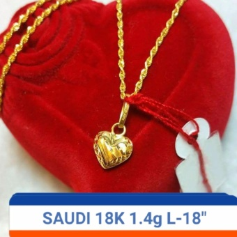 Saudi 100% Gold 18K Necklace with heart Pendant 1 4g L-18inches