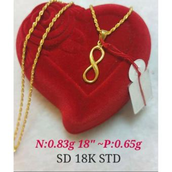 Saudi Gold 100% Authentic 18K Necklace with Infinity Pendant 1.48g